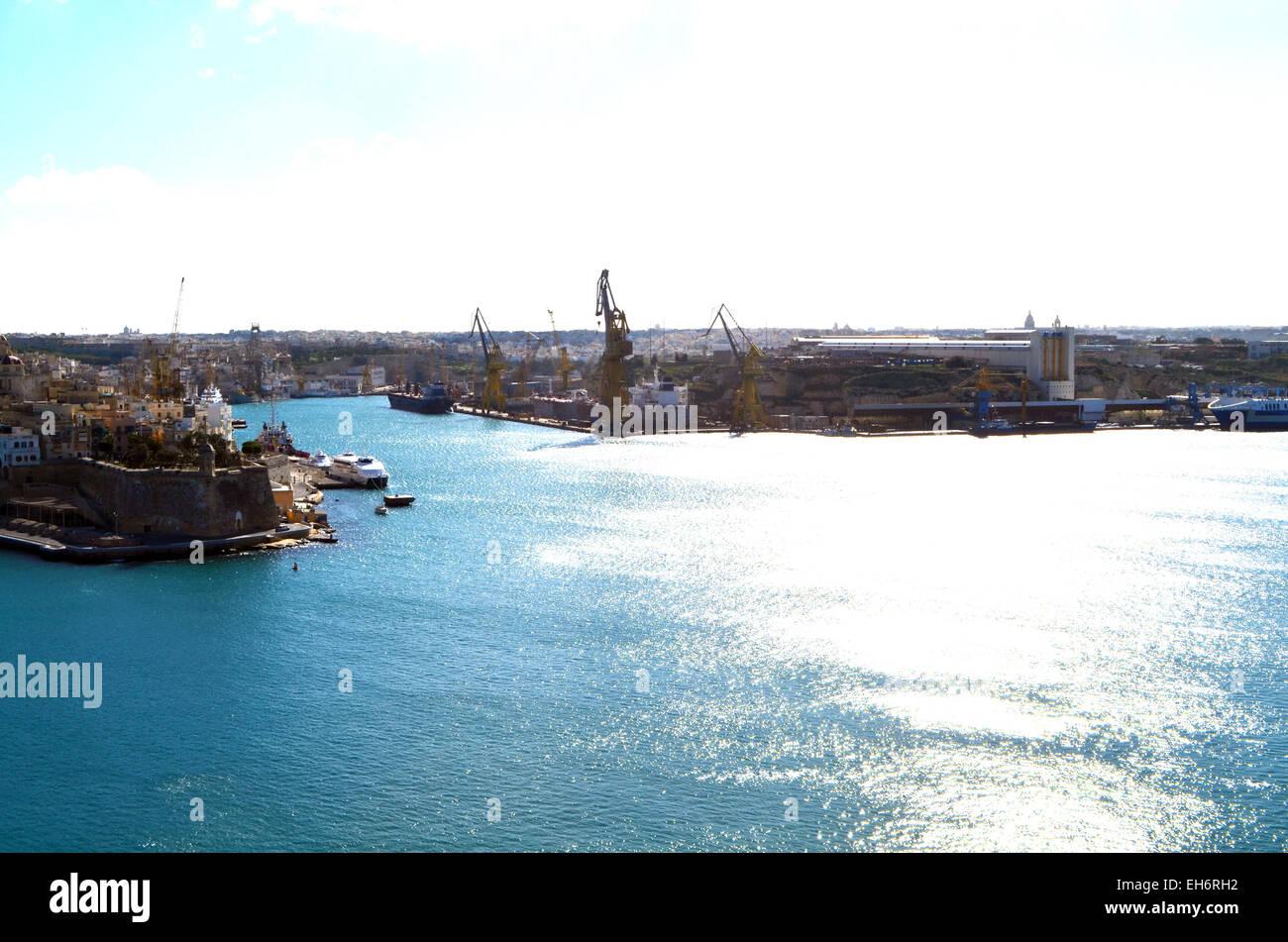 Malta, Valletta, A view if the Grand Harbour over Valletta. - Stock Image