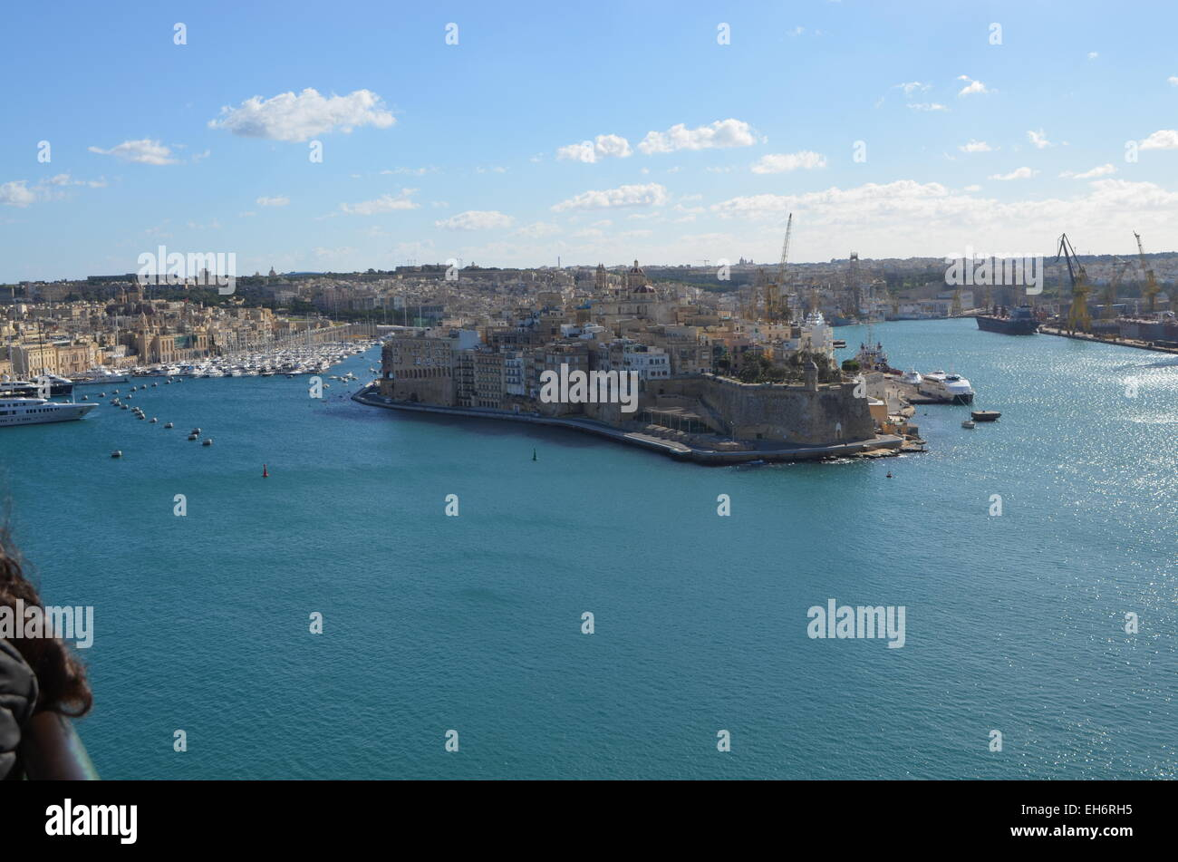 Malta, Valletta, a view of The Grand Harbour with Fort St. Angelo to the right,and hundreds of sailing boats in - Stock Image