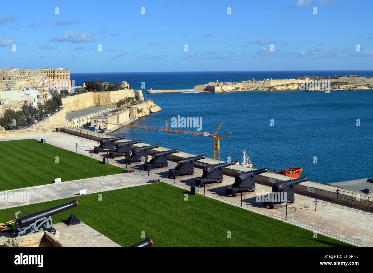 Valletta, Malta, A row of cannons at the ready for firing salutes. This is part of Malta's entry to  The Grand - Stock Image