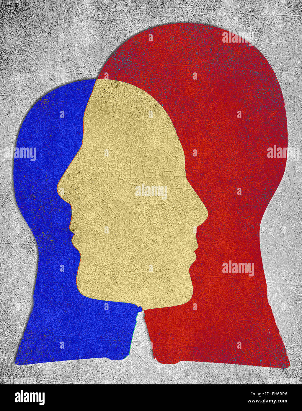 two colored head silhouette  psychology concept - Stock Image