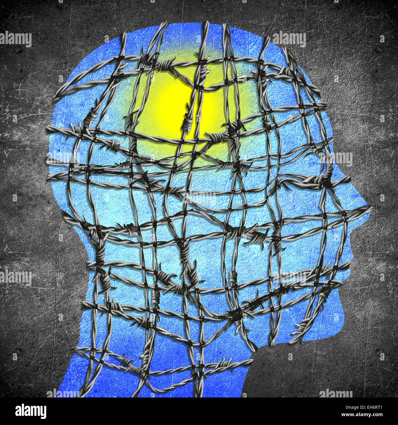 head silhouette with barbed wire sun and blue sky digital illustration - Stock Image