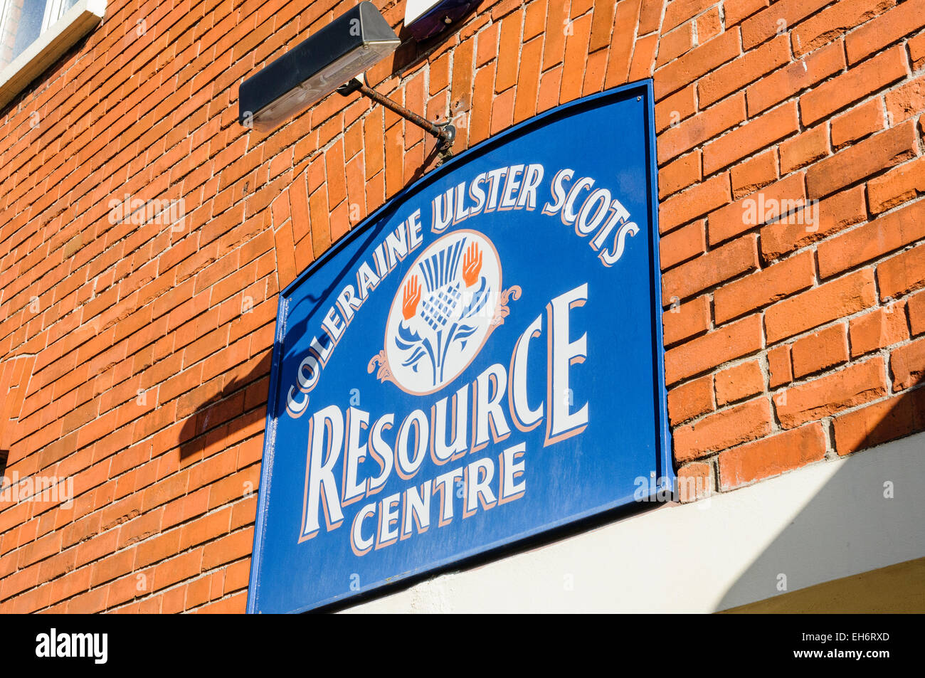 Sign at the Coleraine Ulster Stots Resource Centre - Stock Image