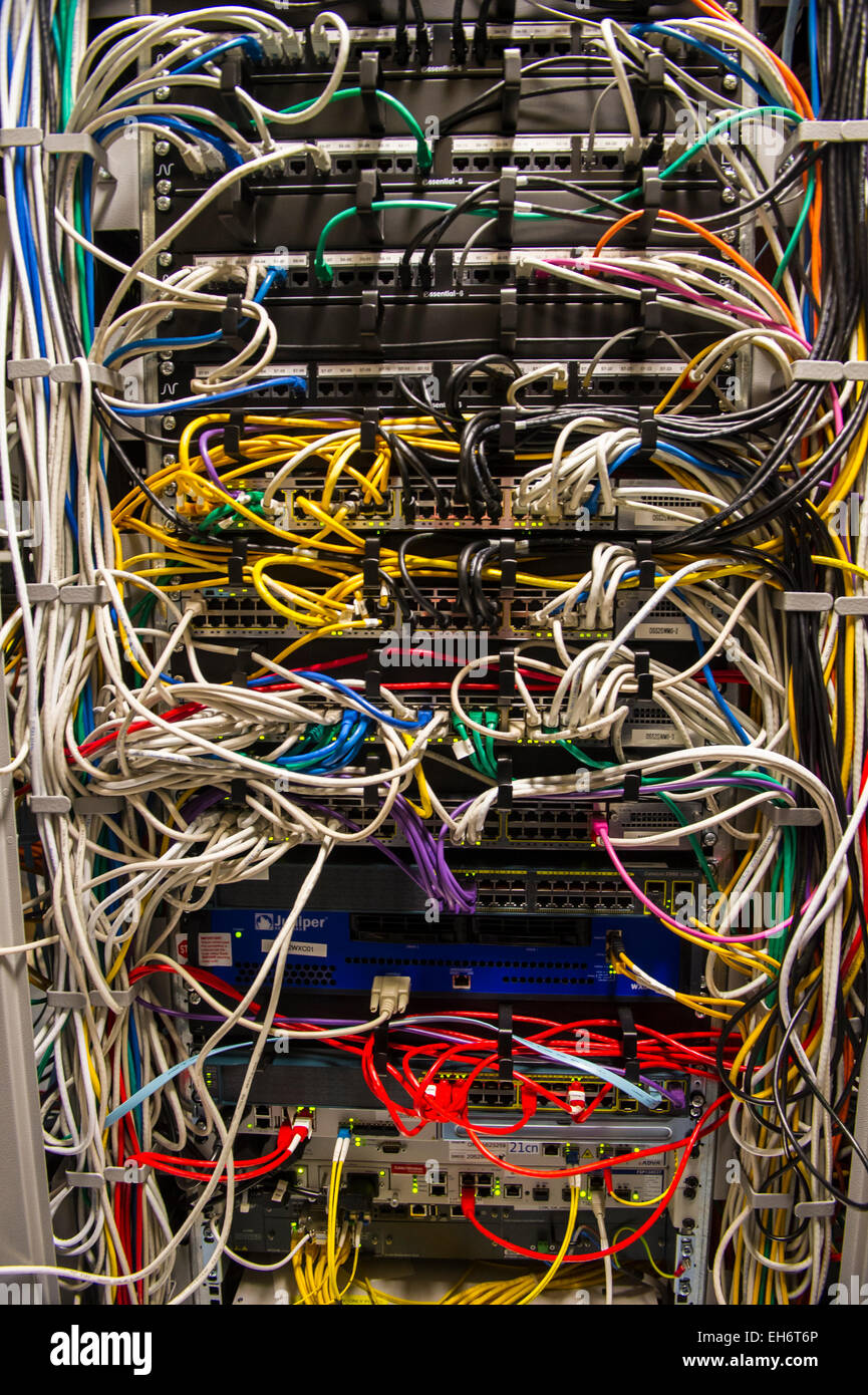 Complex Wiring In Computer Server Air Conditioned Machine