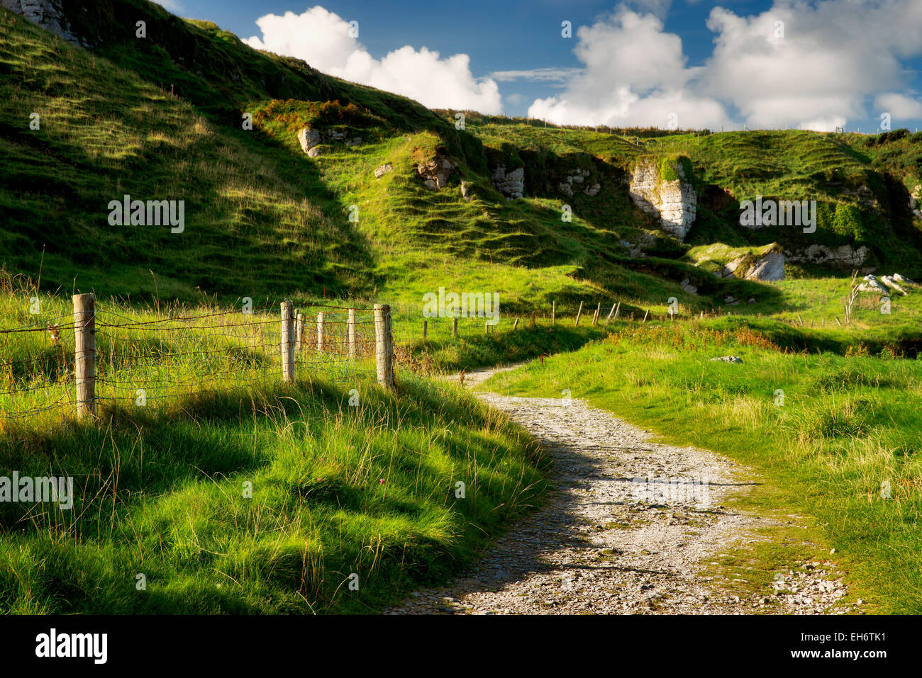 Road at Ballintoy Harbor. Northern Ireland - Stock Image