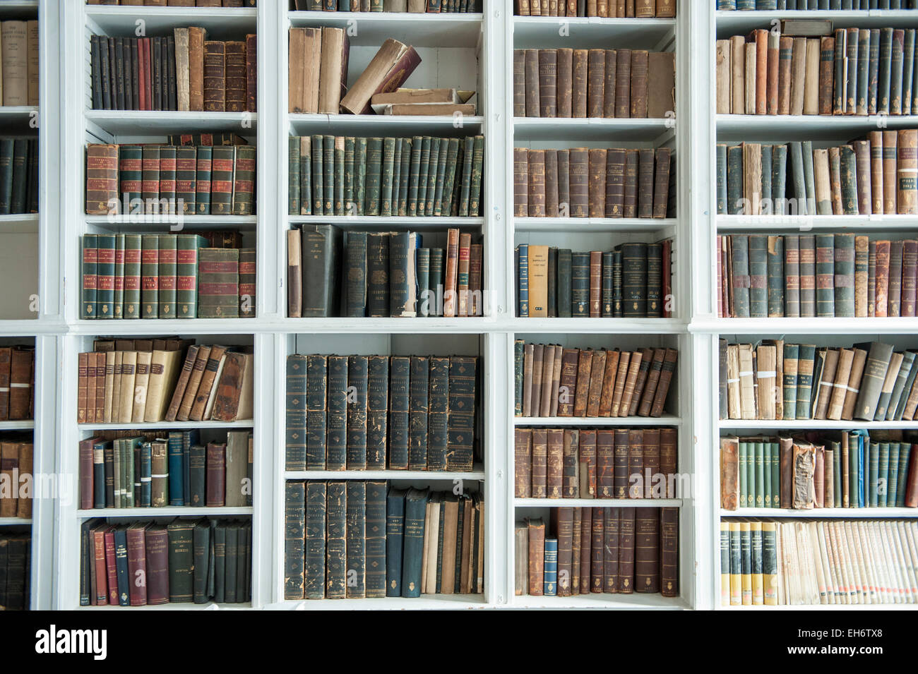 A selection of antique library books at the Royal Institution in London's Albermarle Street - Stock Image