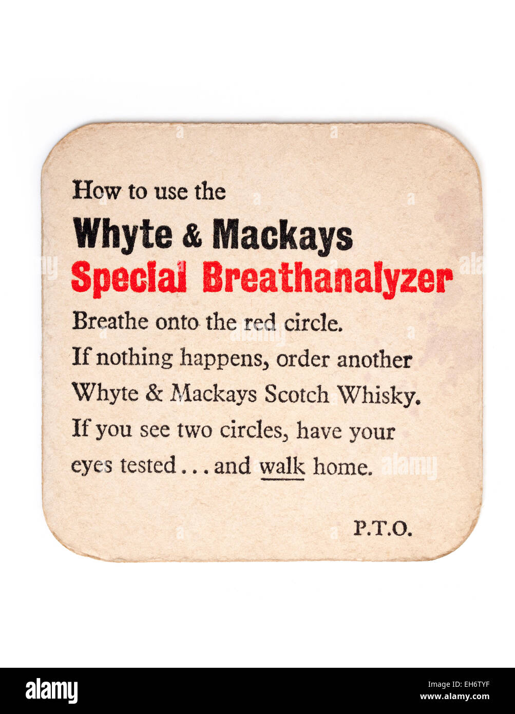 Vintage Beermat Advertising Whyte and Mackays Whisky - Stock Image