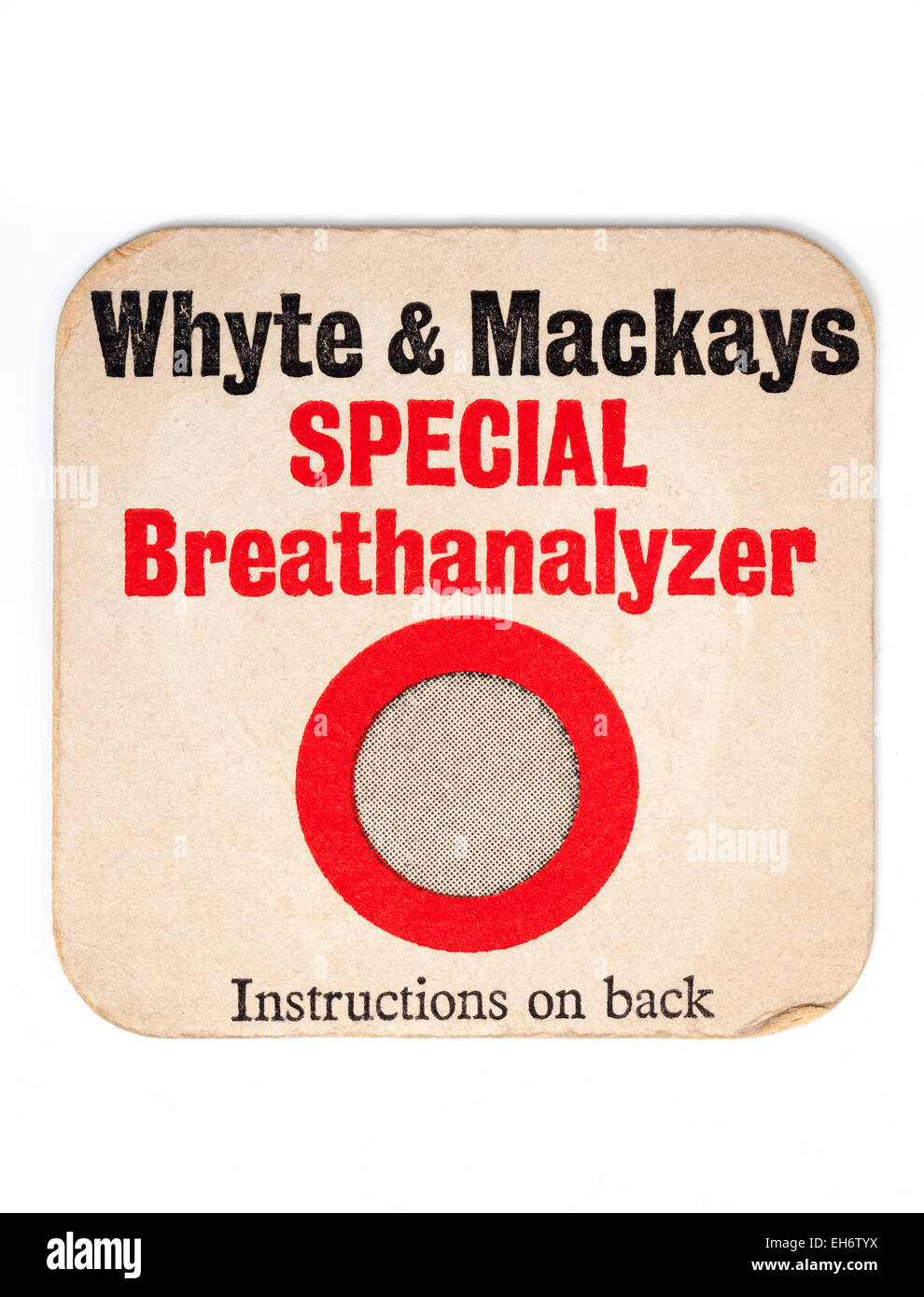 Vintage British Beermat Advertising Whyte and Mackays Whisky - Stock Image