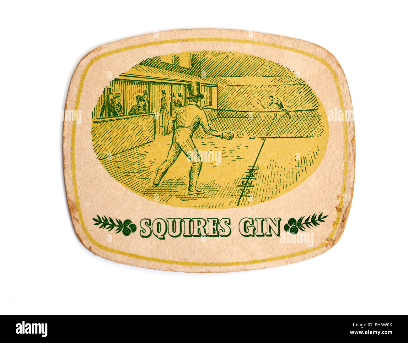 Vintage British Beermat Advertising Squires Gin - Stock Image