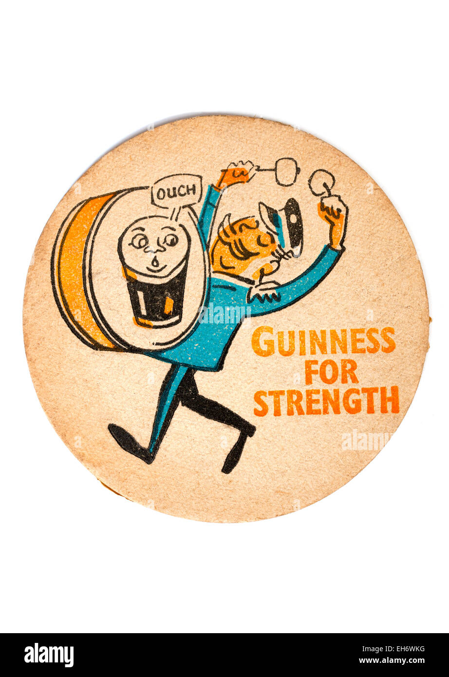 Vintage British Beermat Advertising Guinness For Strength - Stock Image