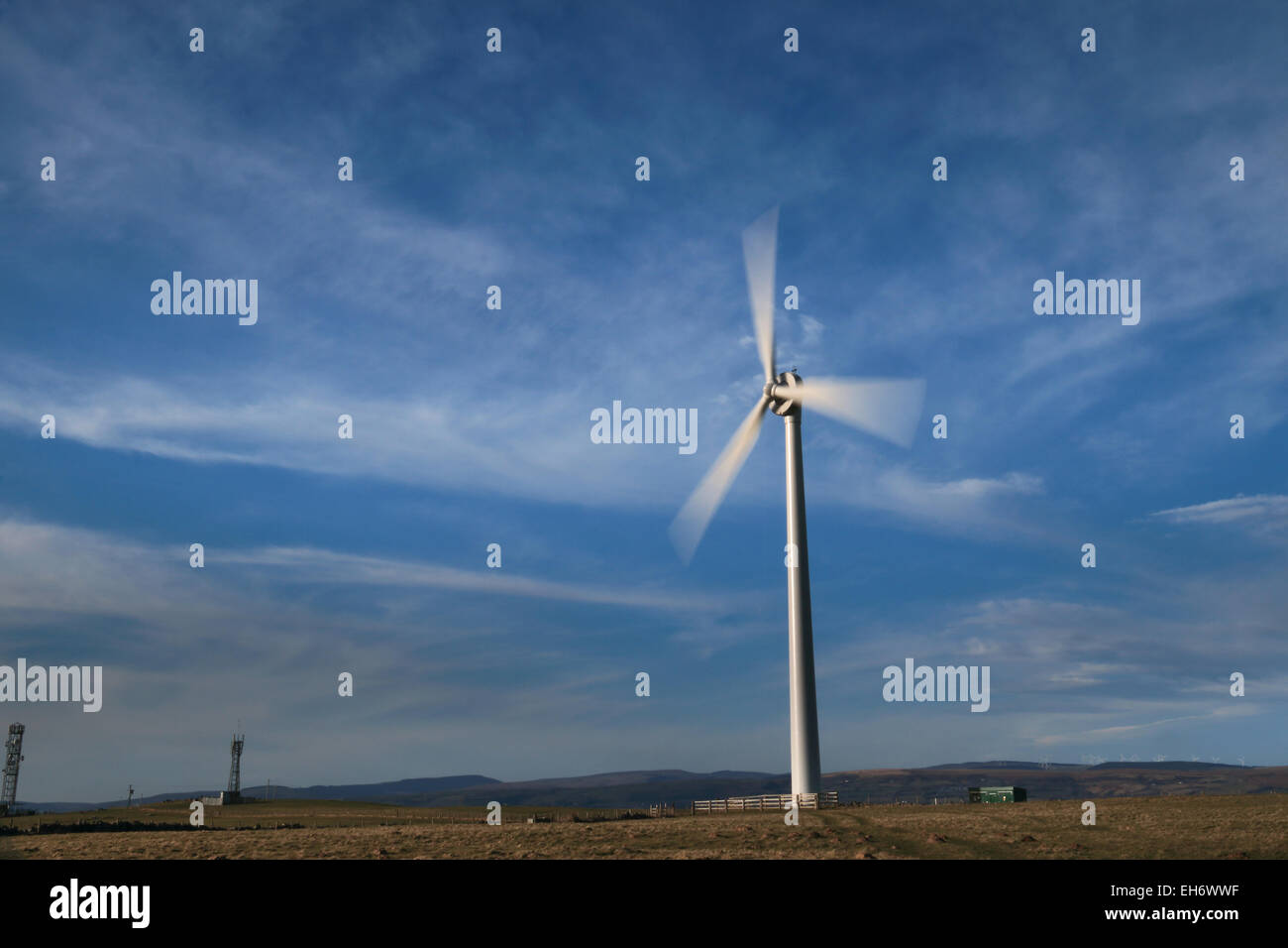 Three blade wind turbine in south Wales - Stock Image