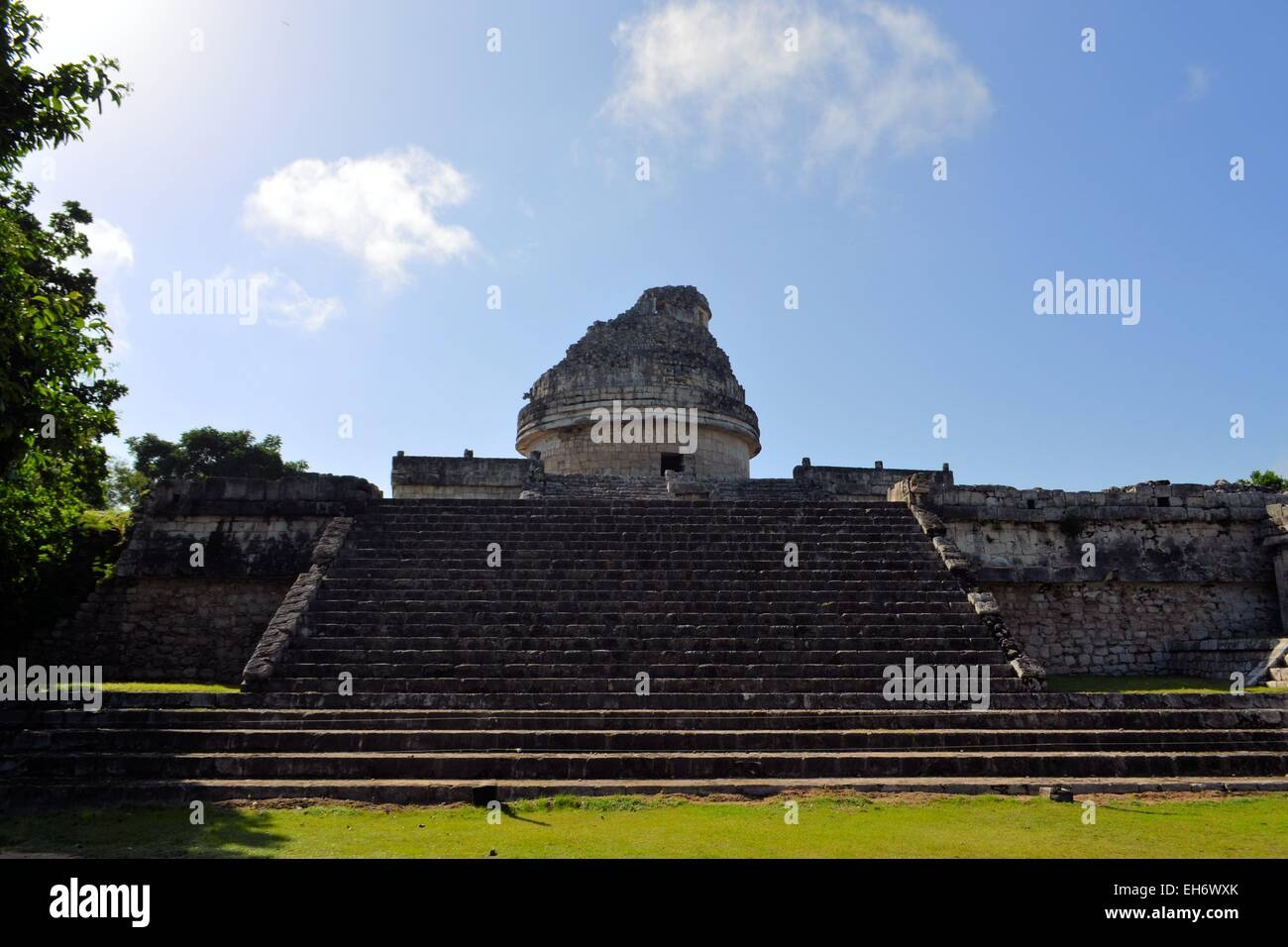 Mayan Observatory at Chichen Itza, Mexico, Yucatan - Stock Image