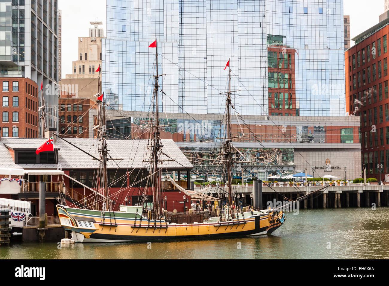 Eleanor, one of the Boston Tea Party ships, Boston Tea Party Museum, Intercontinental Hotel, Boston, Massachusetts, - Stock Image