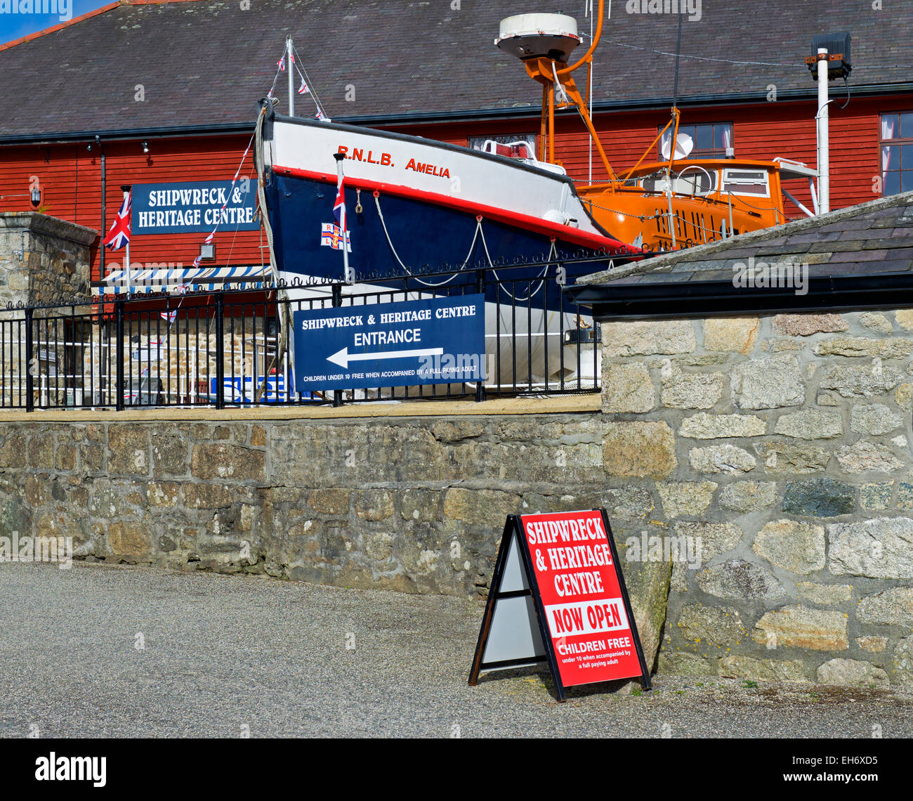 Shipwreck Heritage Centre, and lifeboat, Charlestown, Cornwall, England UK - Stock Image