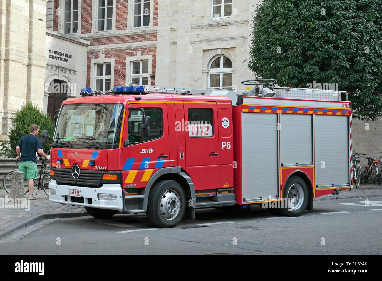 A Mercedes Benz Atego Fire Appliance In Leuven, Flemish Brabant, Belgium.    Stock