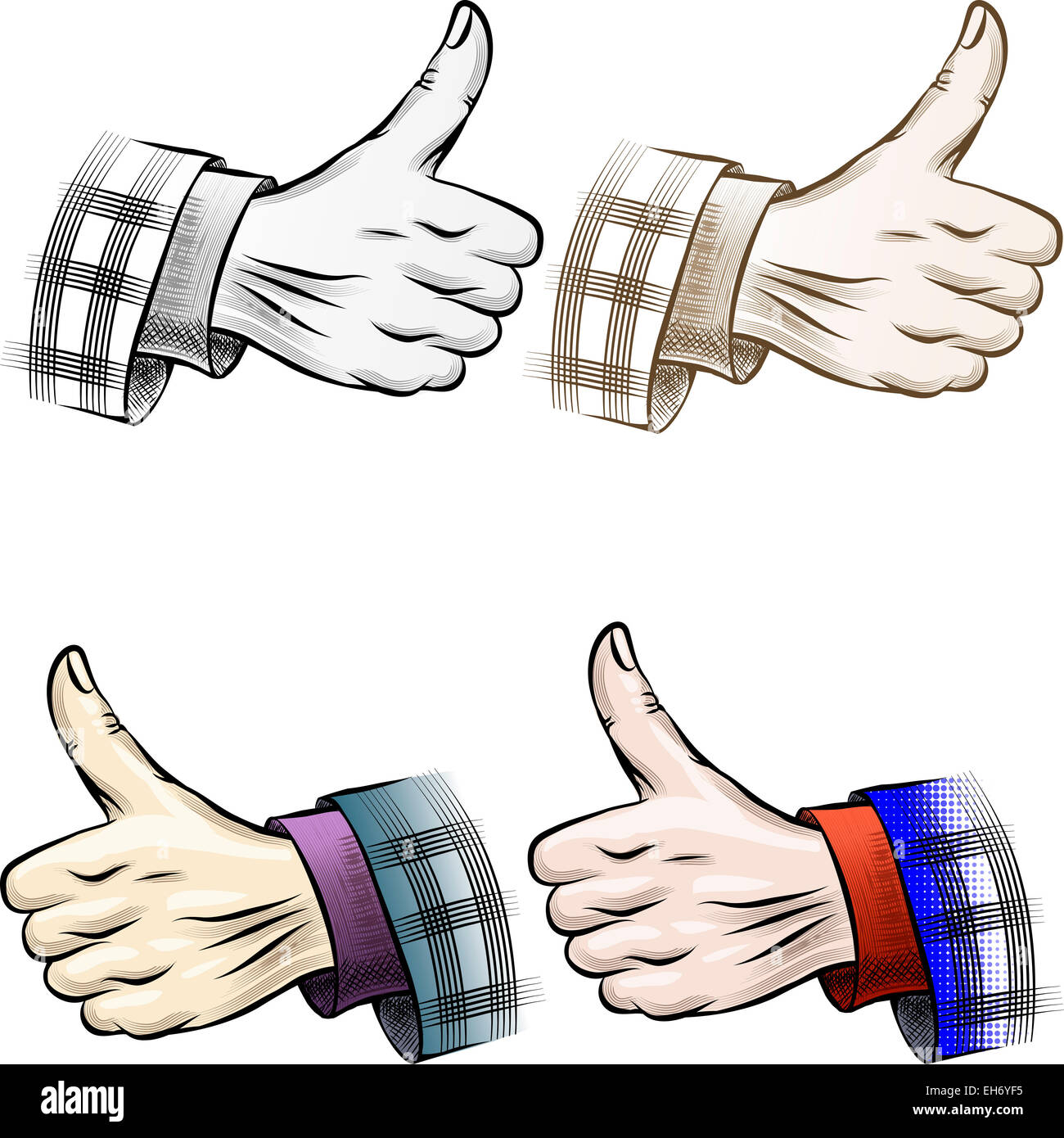 Set of vintage thumb up gesture drawn in different color variations - Stock Image