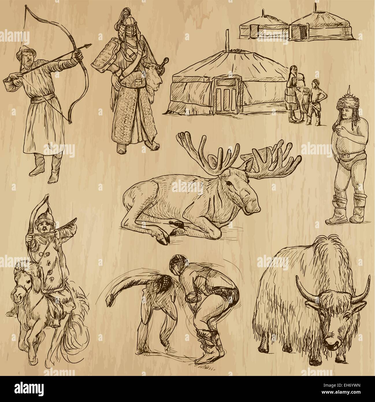 From the traveling series: MONGOLIA - Collection of an hand drawn illustrations. Each drawing comprise of two basic - Stock Vector