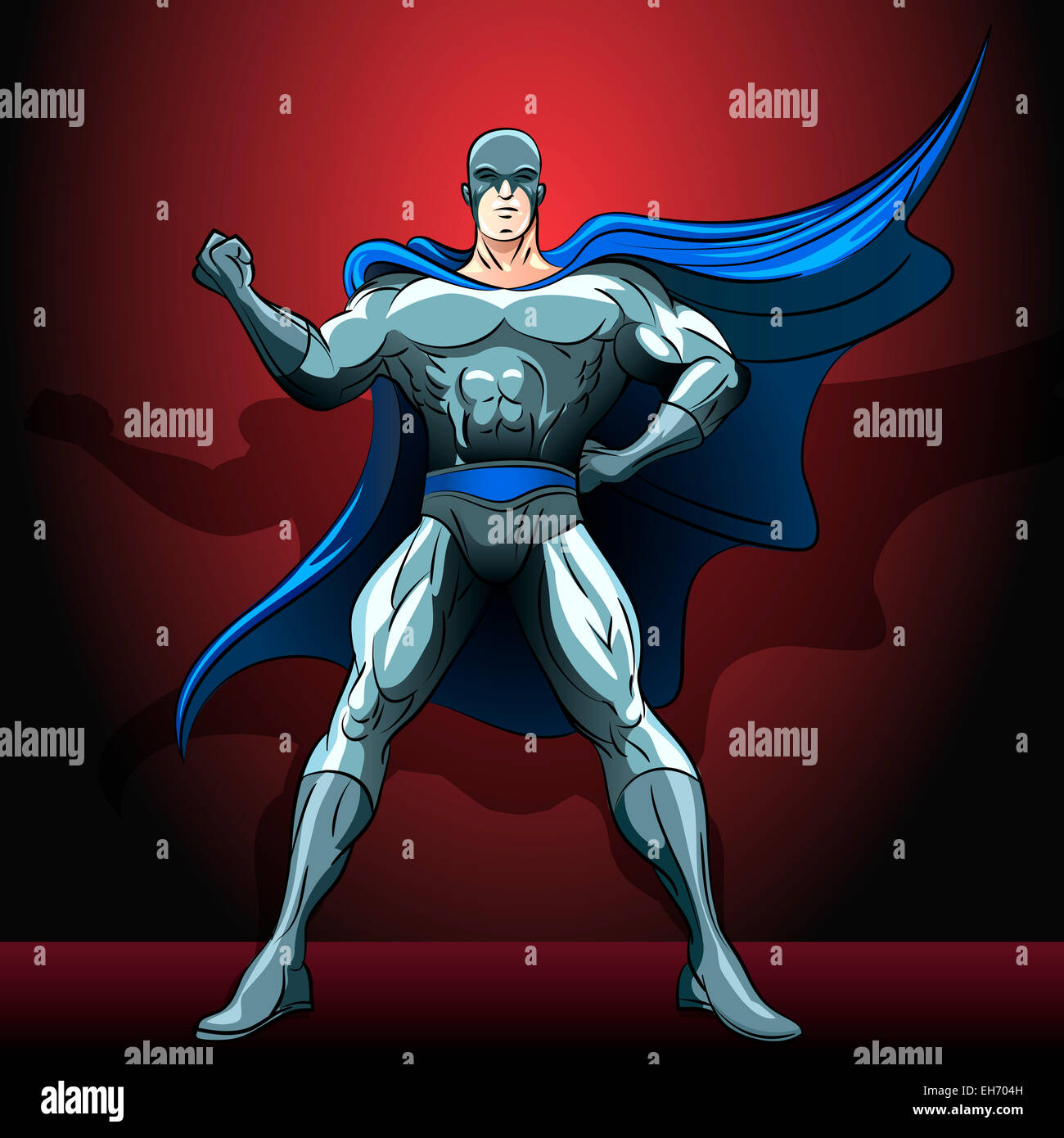 Illustration with hero who decided to save the world and nothing can not stop him drawn in comics style - Stock Image