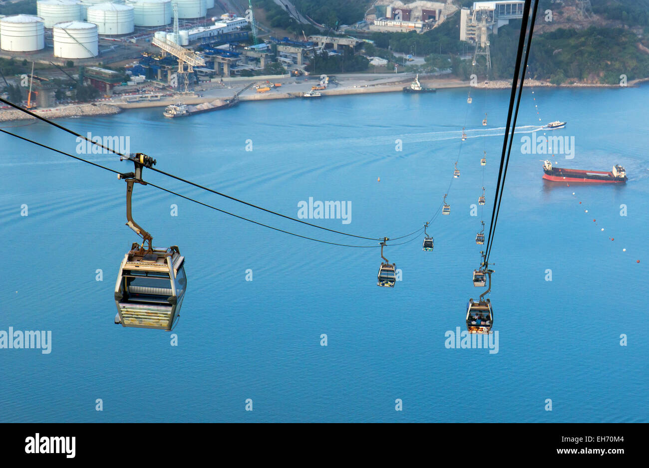 cableway to the island Lantau - Stock Image