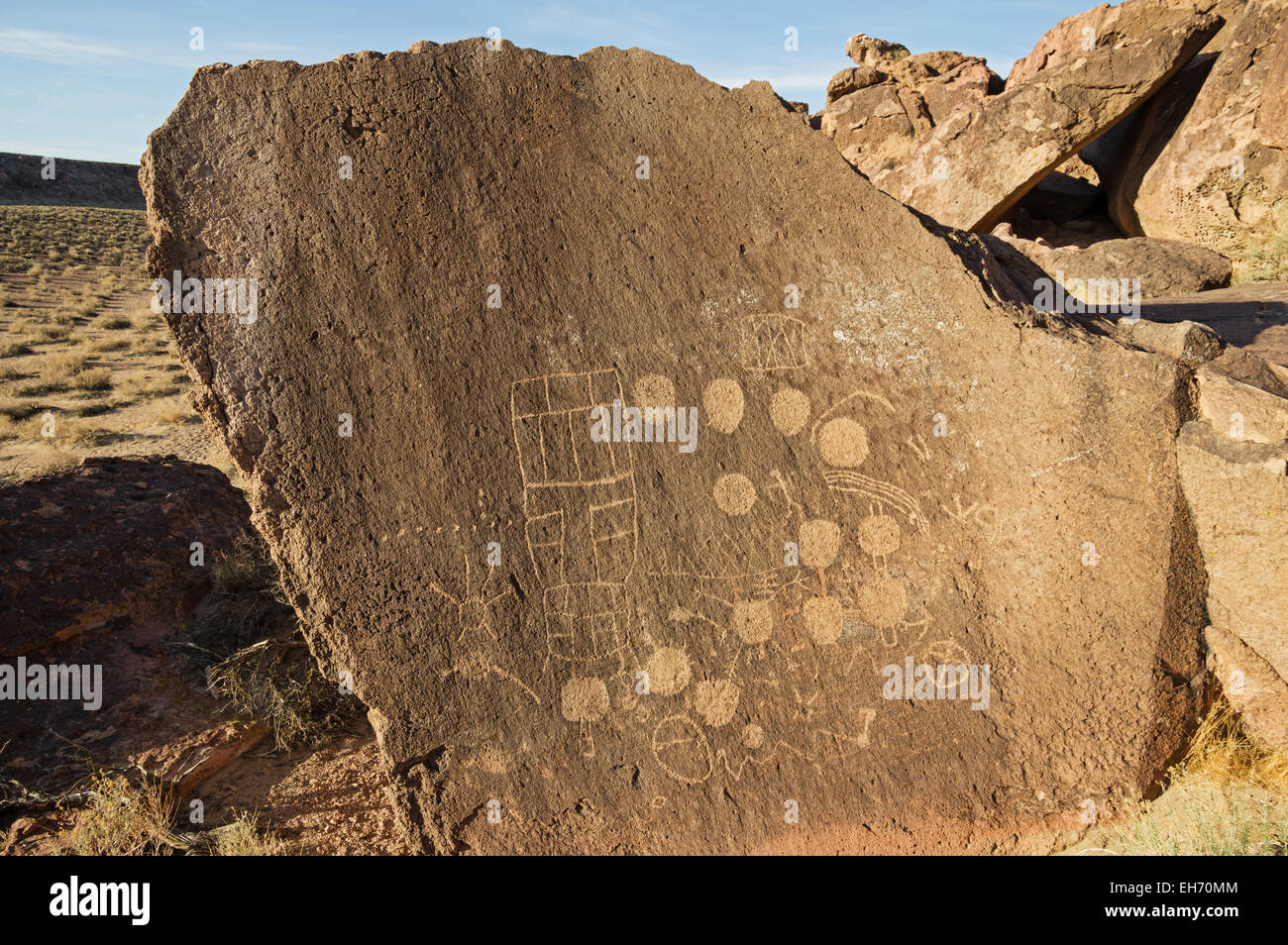 petroglyphs carved into volcanic tuff rock on the volcanic tableland near Bishop California - Stock Image