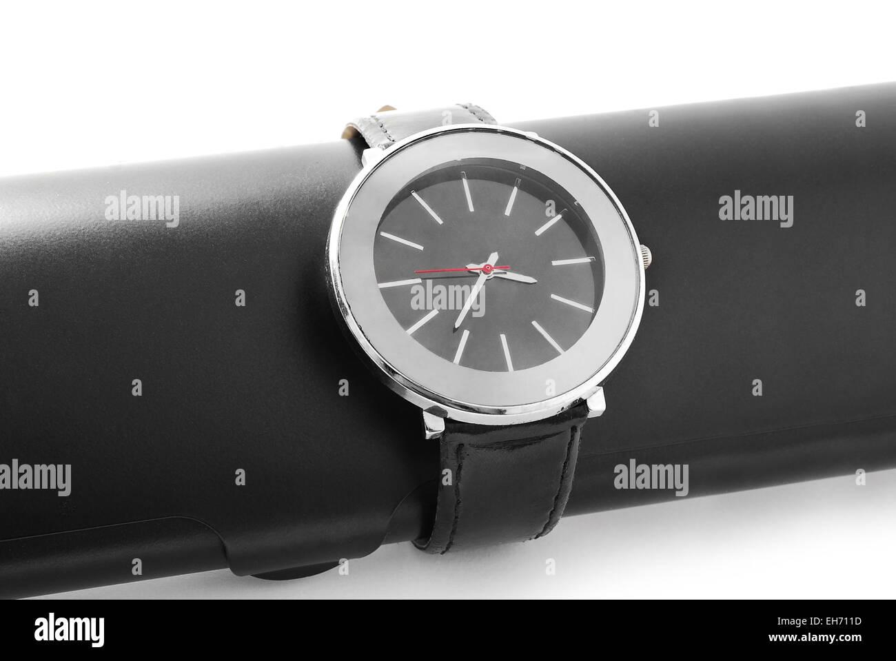 wrist watch on white background - Stock Image