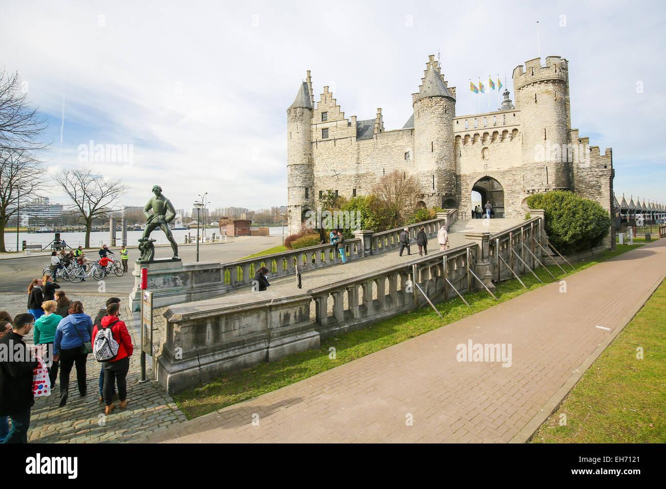 ANTWERP, BELGIUM - MARCH 7, 2015: Het Steen is a medieval fortress in the old city of Antwerp. It is Antwerp's - Stock Image