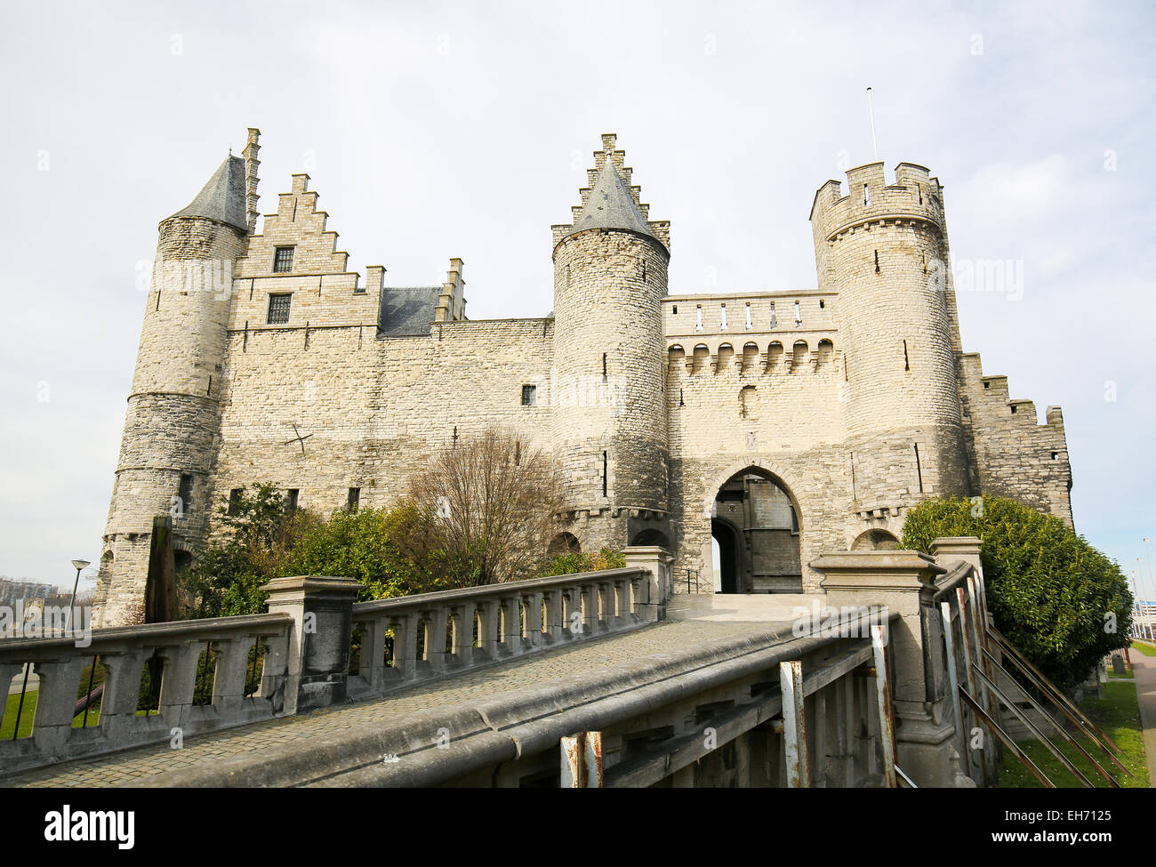 Het Steen is a medieval fortress in the old city of Antwerp. It is Antwerp's oldest building and used to be - Stock Image