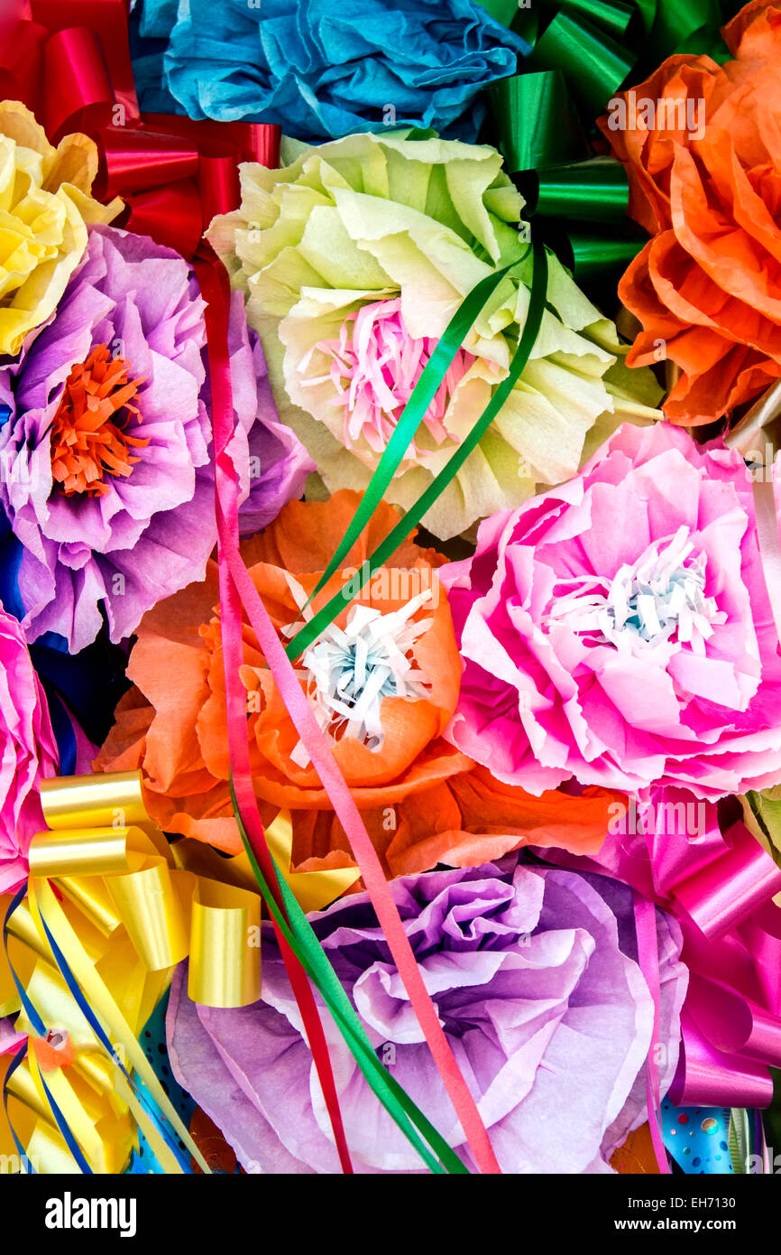 Decorative paper flowers, La Villita, San Antonio, Texas USA - Stock Image