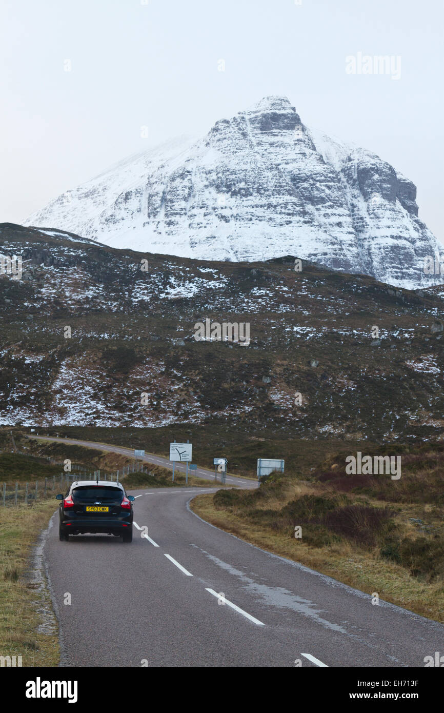 Car on A894 in Sutherland, North Scotland - Stock Image