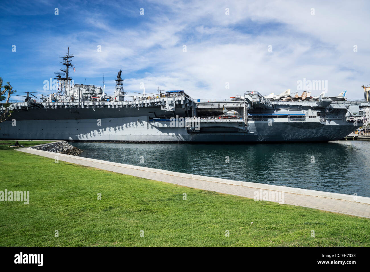 USS Midway Aircraft Carrier museum in San Diego California - Stock Image