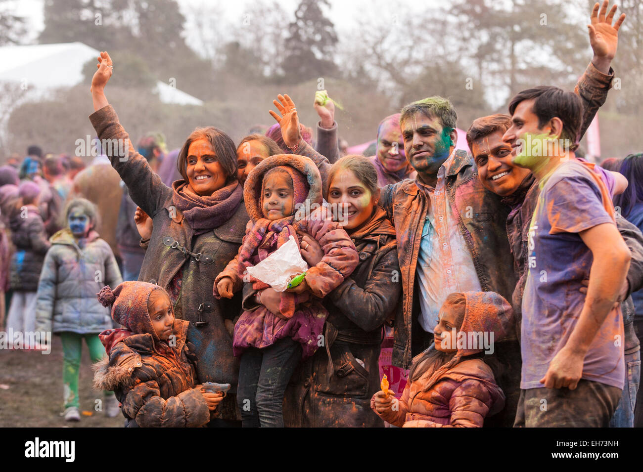 Watford, London, UK, 8 March 2015.   People celebrate the Festival of Holi, or Festival of Colours,  by throwing - Stock Image