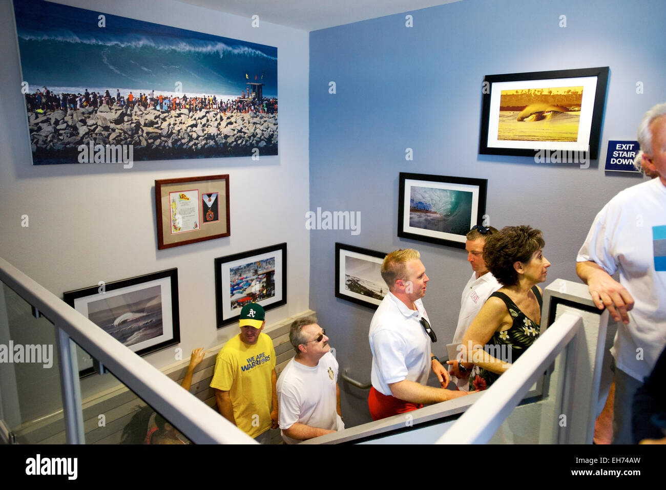 Newport Beach, California, USA. 8th March, 2015. The newly renovated lifeguard headquarters building features state - Stock Image