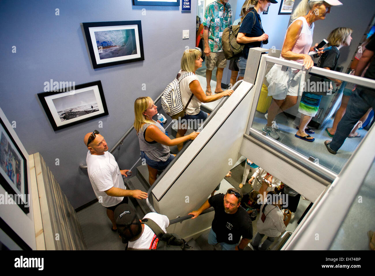 Newport Beach, California, USA. 8th March, 2015. Community members tour the the newly renovated lifeguard headquarters - Stock Image