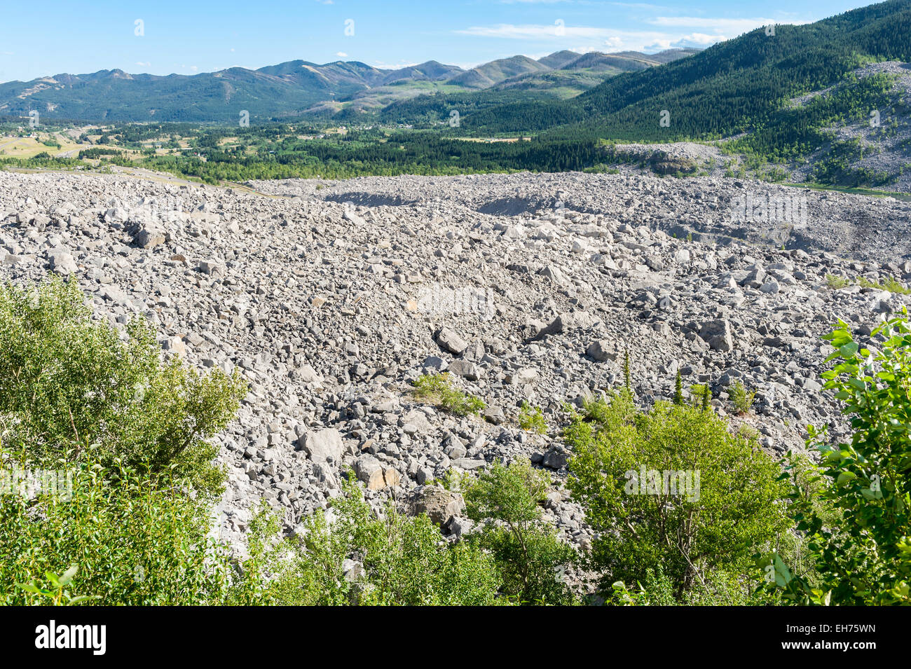 Site of the Frank Slide, a rockslide that destroyed part of Frank, Canada, 29 April 1903.  Crowsnest Pass, Alberta. - Stock Image