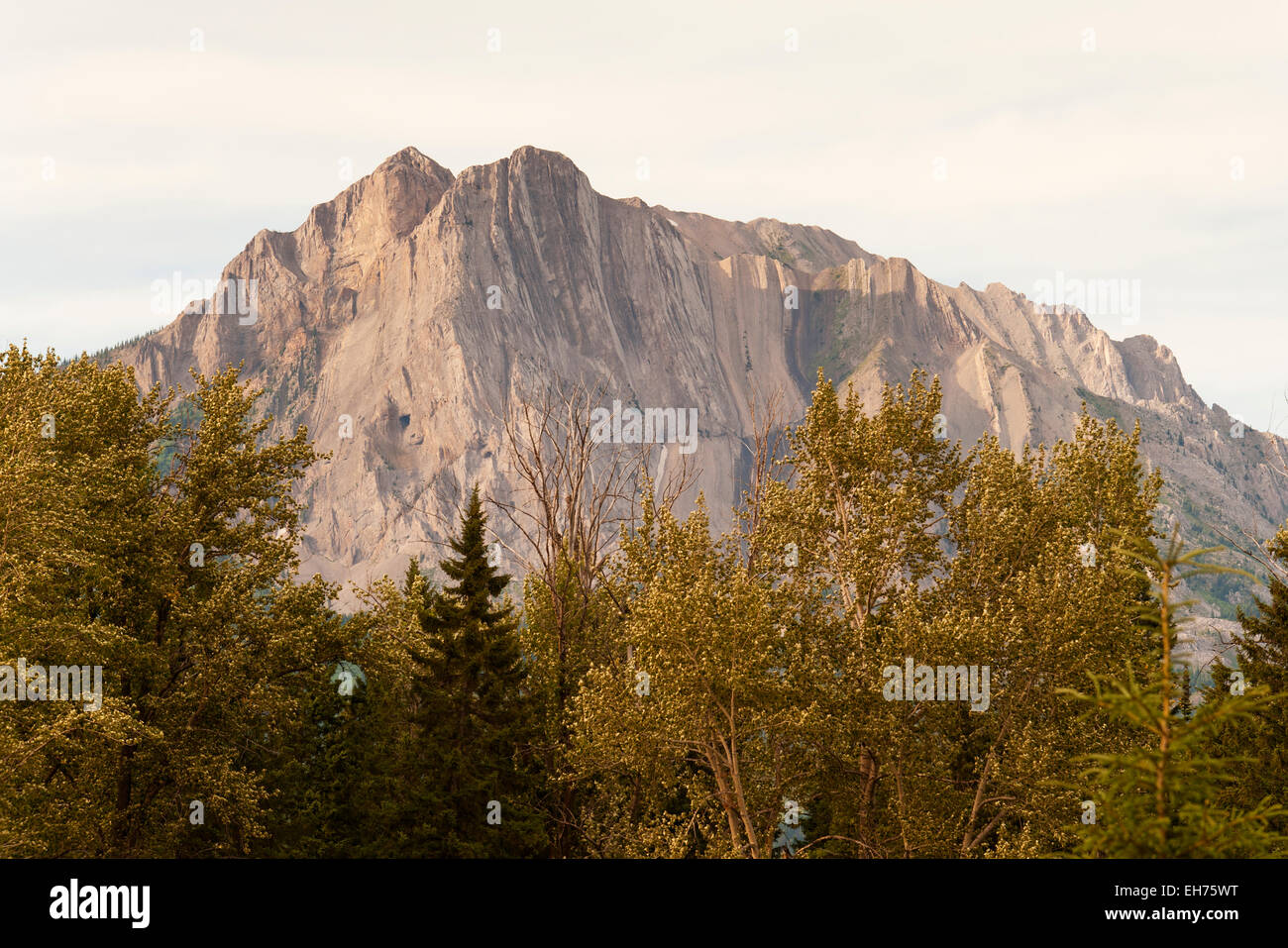 Fernie 'ghostriders', optical illusion on Mount Hosmer, over Fernie, BC, Canada.  Shadow: Chief on horse - Stock Image