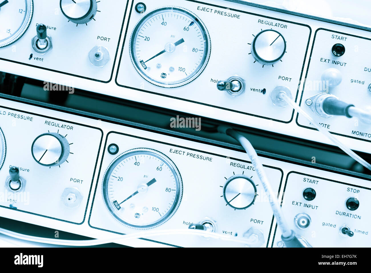 Control panel with dials - Stock Image