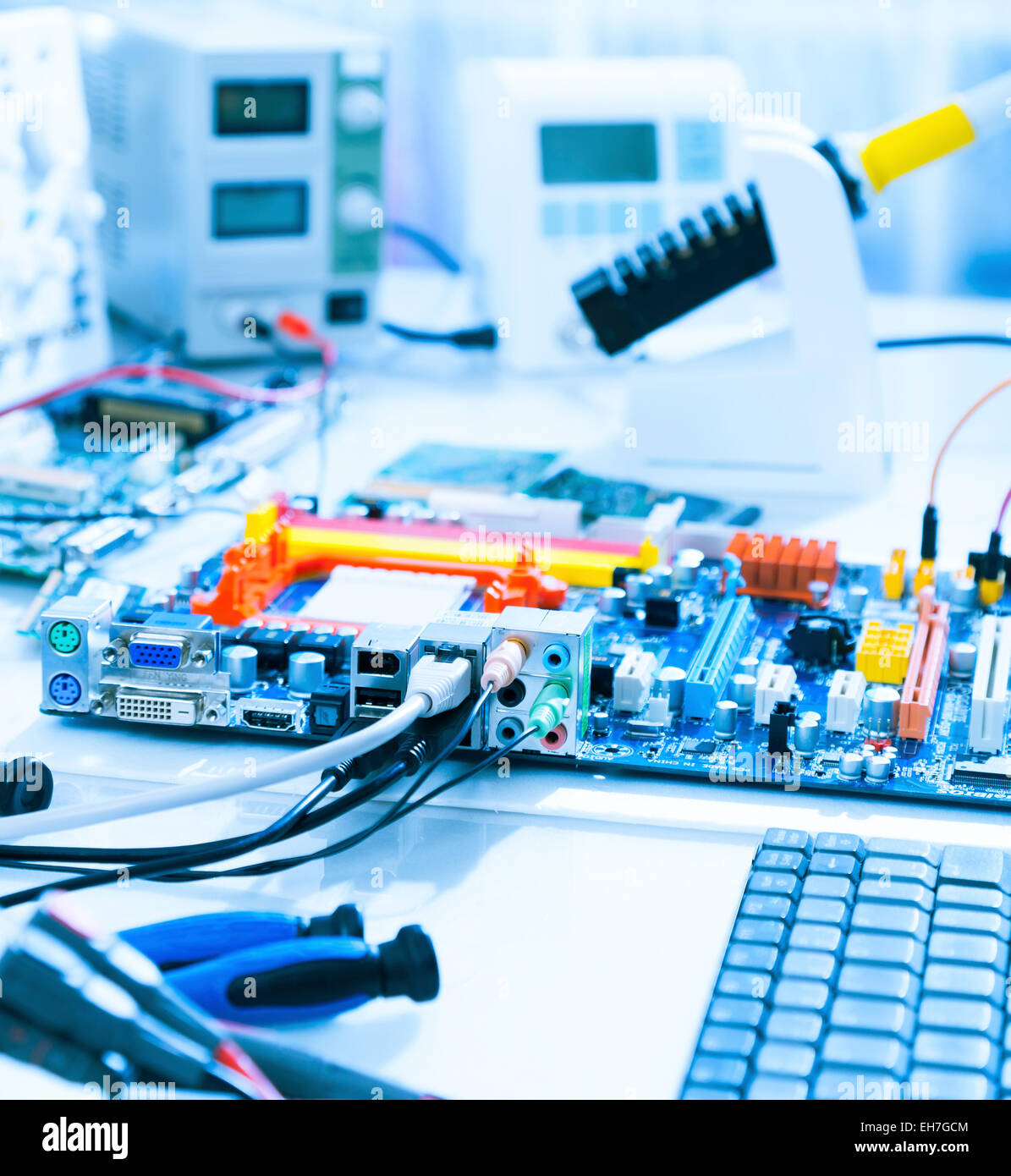 Computers in a repair workshop - Stock Image