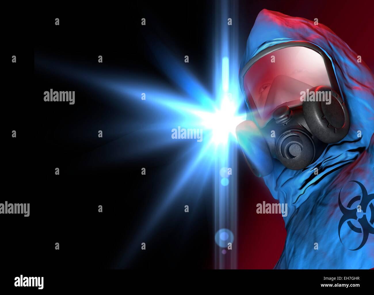 Isolation suit, artwork - Stock Image