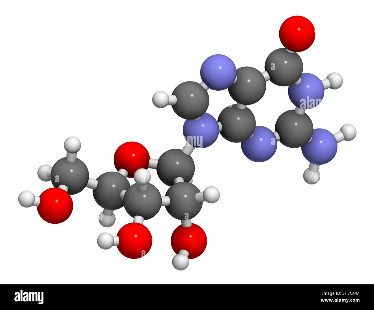 Guanosine purine nucleoside molecule - Stock Image