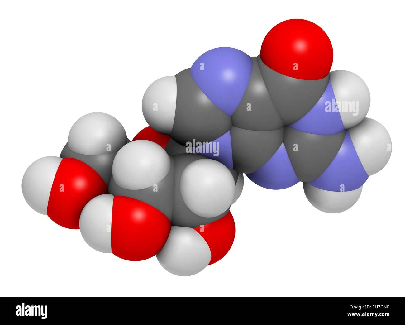 Guanosine purine nucleoside molecule Stock Photo