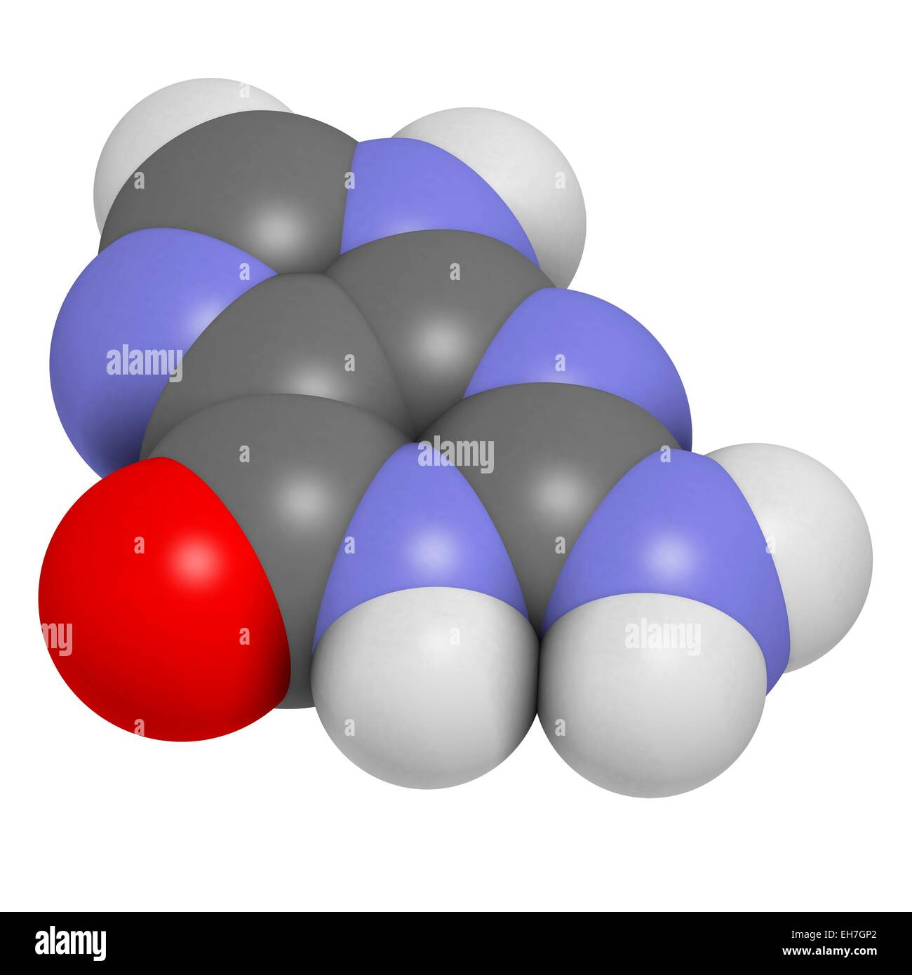 Guanine purine nucleobase molecule - Stock Image