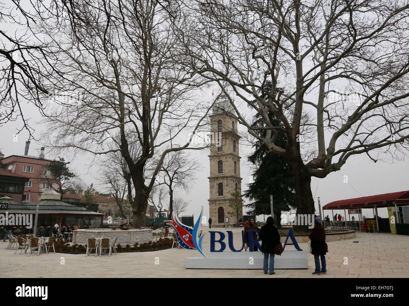 (150309) -- BURSA (TURKEY), March 9, 2015 (Xinhua) -- The clock tower in the park of the tomb of Orhan Ghazi, founder - Stock Image