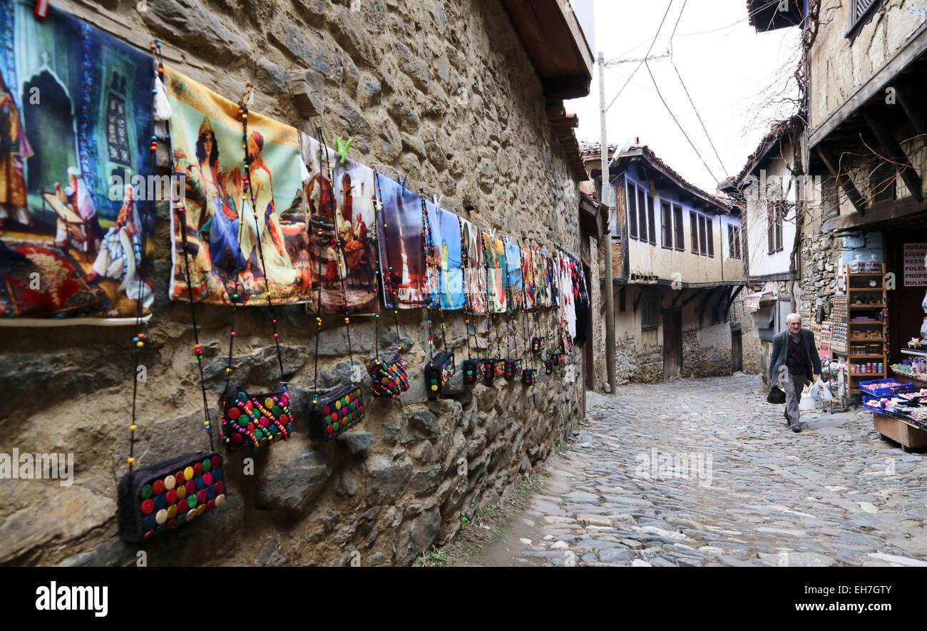 (150309) -- BURSA (TURKEY), March 9, 2015 (Xinhua) -- A villager walks on the stone road in Cumalikizik in Turkey's - Stock Image