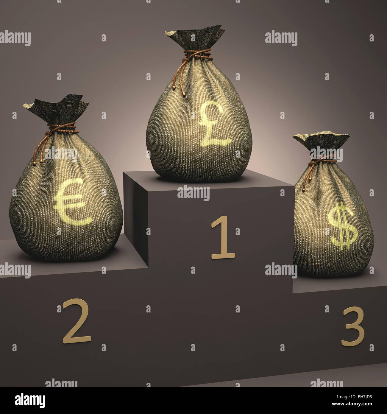 Currencies on a podium, illustration - Stock Image