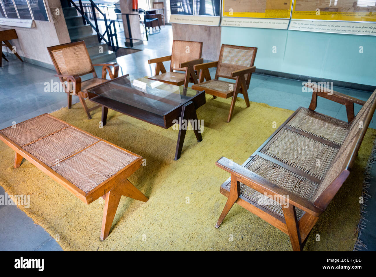 Original 1950s furniture in The Museum of Architecture in Chandigarh, India - Stock Image