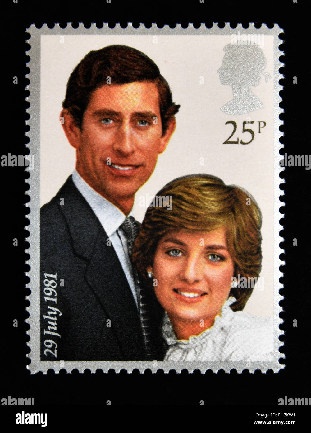 Postage stamp. Great Britain. Queen Elizabeth II. 1981.Royal Wedding,  29th.July 1981. Prince Charles and Lady Diana Spencer. 25p