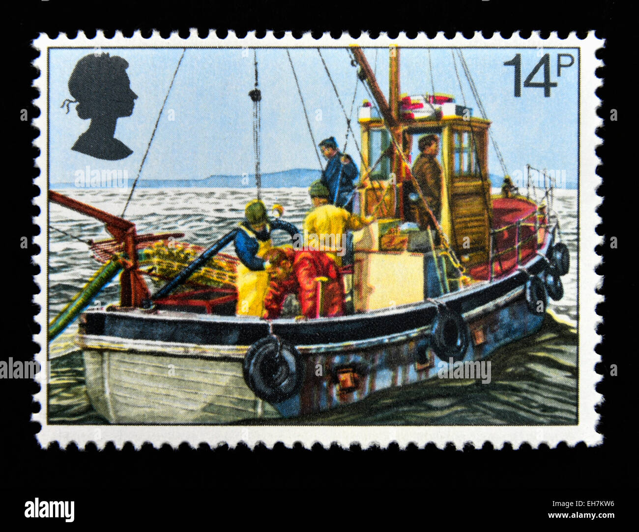 Postage stamp. Great Britain. Queen Elizabeth II. 1981. Fishing Industry. Cockle-dredging from Linsey II. 14p. - Stock Image