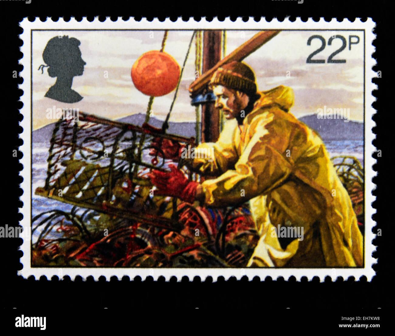Postage stamp. Great Britain. Queen Elizabeth II. 1981. Fishing Industry. Lobster Potting. 22p. - Stock Image