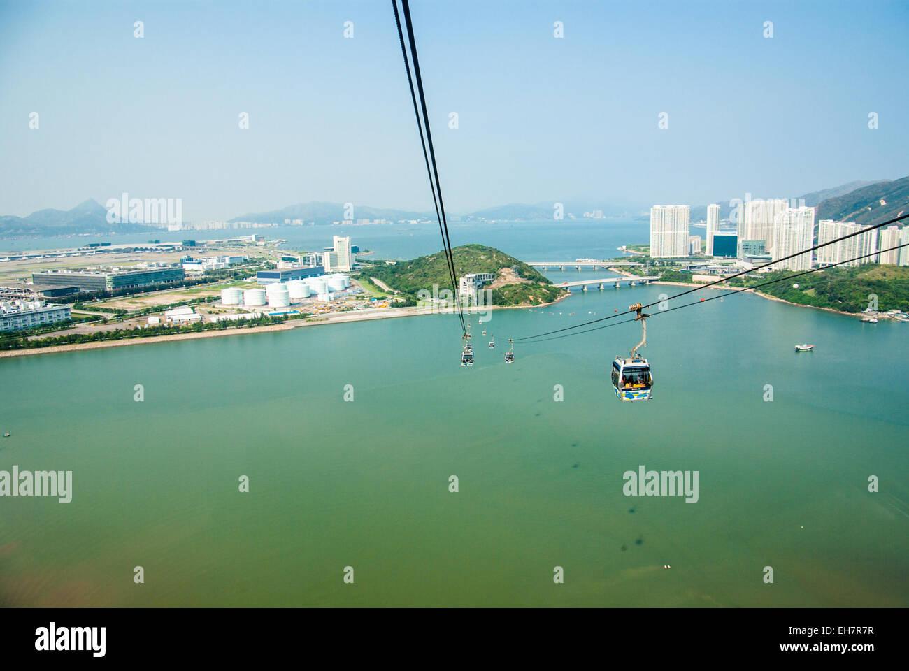 Ngong Ping 360 Cable Car to Ngong Ping Village on Lantau Island, Hong Kong - Stock Image