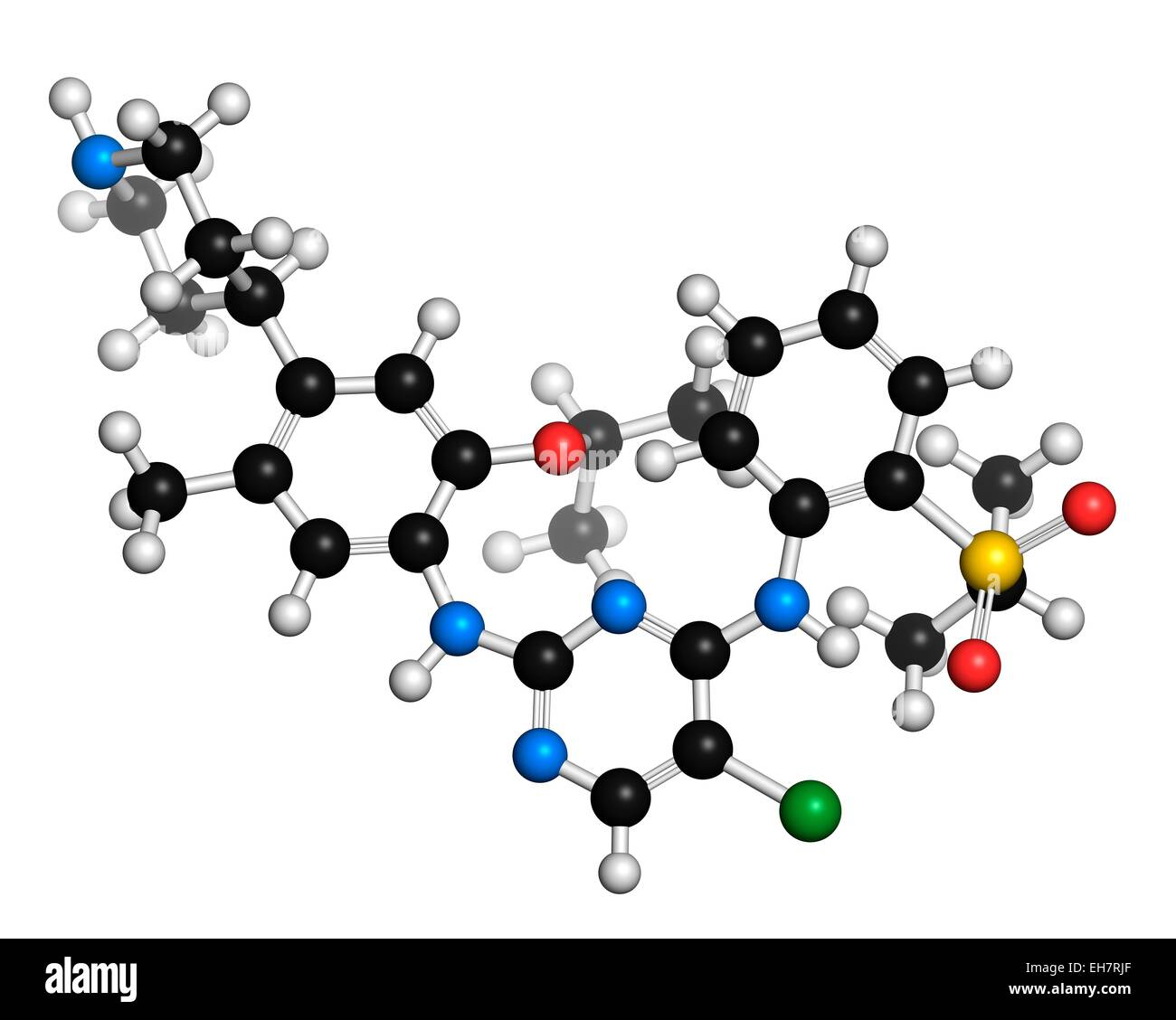Ceritinib cancer drug molecule - Stock Image