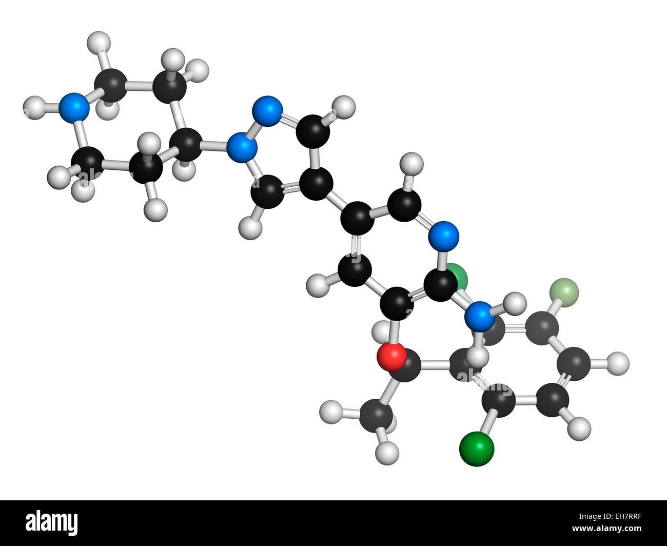 Crizotinib anti-cancer drug molecule - Stock Image